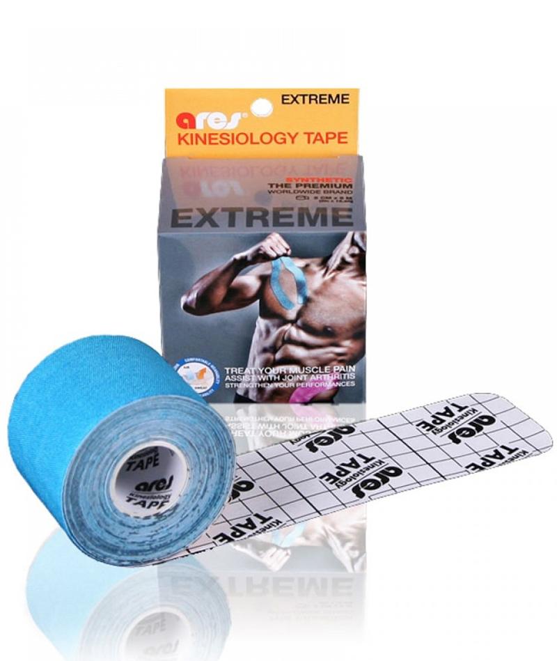 Эластичный Кинезиологический пластырь Арес Экстрим 5см*5 м (Голубой)