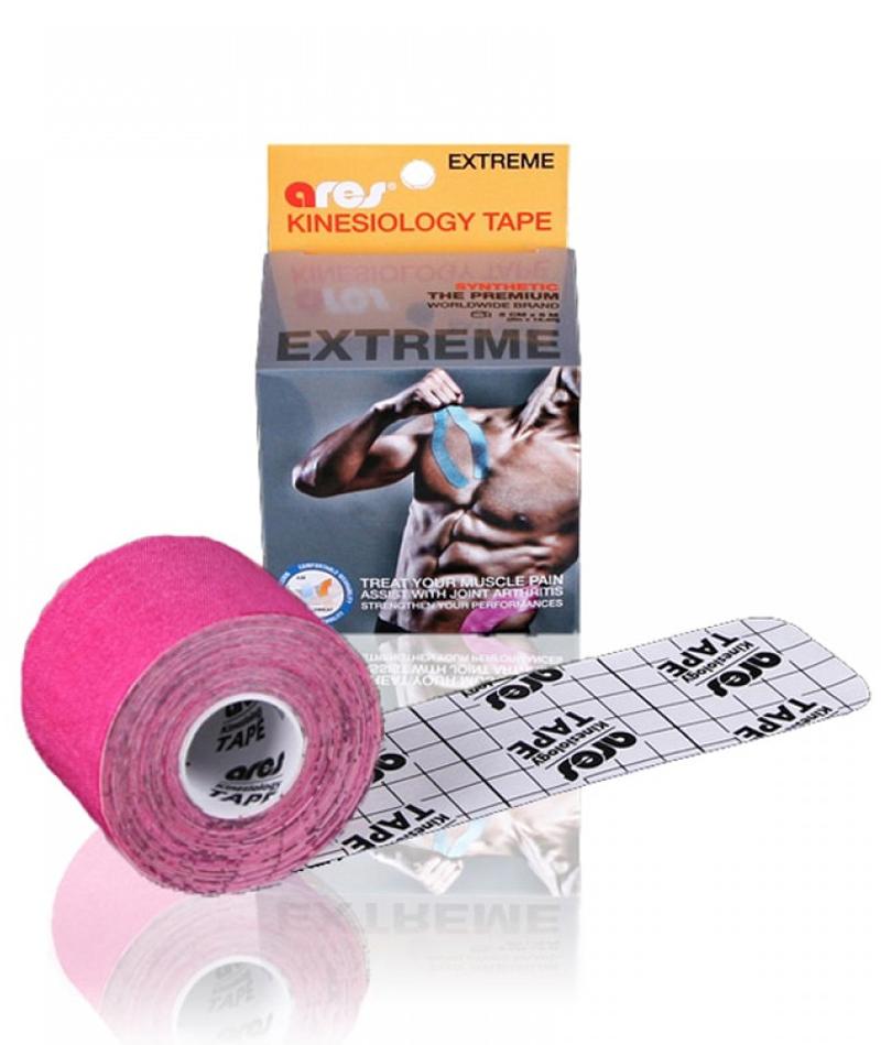 Эластичный Кинезиологический пластырь Арес Экстрим 5см*5 м (Розовый)