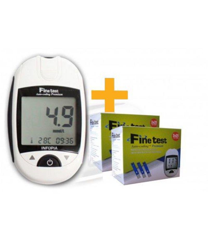 Набор: тест-полоски Finetest №50 х 2 + глюкометр Finetest