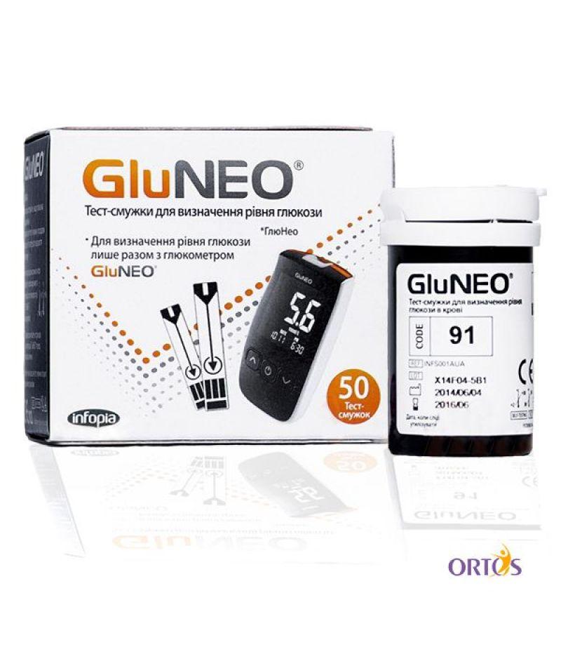 Тест-полоски уровня глюкозы в крови Glu Neo (50 шт)